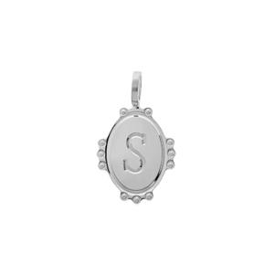 Pendentif en argent rhodié médaille ovale 14mm perlée \