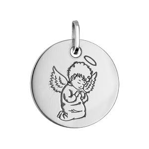 Pendentif en argent rhodié médaille ronde avec Ange - Vue 1