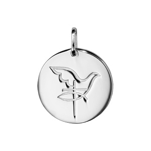 Pendentif en argent rhodié medaille ronde colombe avec croix - Vue 1