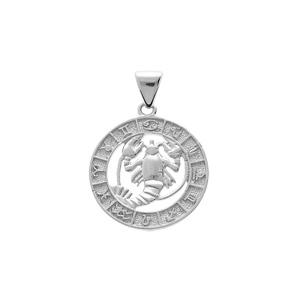 Pendentif en argent rhodié médaille zodiaque Cancer - Vue 1
