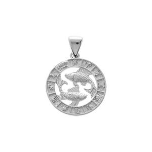 Pendentif en argent rhodié médaille zodiaque Poissons - Vue 1