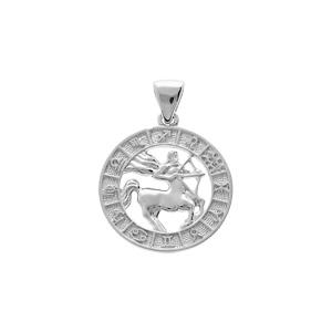 Pendentif en argent rhodié médaille zodiaque Sagittaire - Vue 1