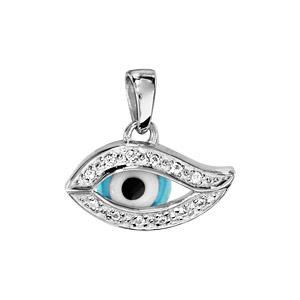Pendentif en argent rhodié oeil de la chance bleu avec tour orné d\'oxydes blancs - Vue 1