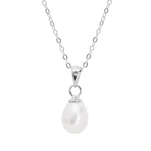 Pendentif en argent rhodié perle de culture d'eau douce blanche de 7mm en forme de poire