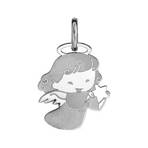 Pendentif en argent rhodié petite fille avec ailes d'ange