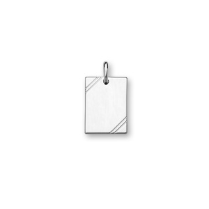 Pendentif en argent rhodié plaque G.I. rectangulaire à graver avec striures dans 2 angles - dimensions 20m X 15mm - plaque fine - Vue 1