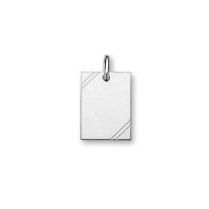 Pendentif en argent rhodié plaque G.I. rectangulaire à graver avec striures dans 2 angles - dimensions 24mm X 17mm - plaque fine - Vue 1