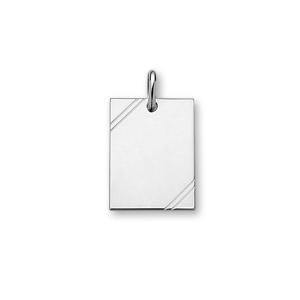 Pendentif en argent rhodié plaque G.I. rectangulaire à graver avec striures dans 2 angles - dimensions 27mm X 20mm - plaque fine - Vue 1