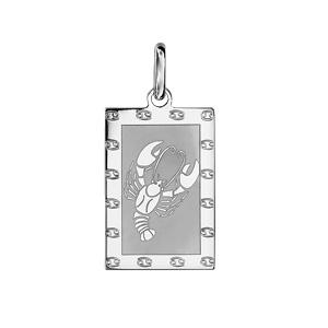 Pendentif en argent rhodié plaque G.I. rectangulaire zodiaque Cancer mat et brillant - Vue 1