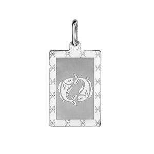 Pendentif en argent rhodié plaque G.I. rectangulaire zodiaque Poissons mat et brillant