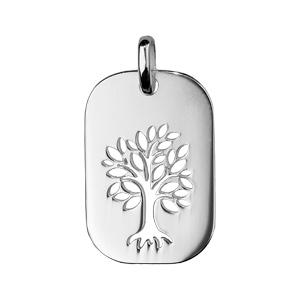 Pendentif en argent rhodié plaque rectangulaire avec arbre de vie ajouré - Vue 1