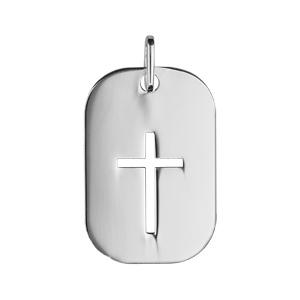 Pendentif en argent rhodié plaque rectangulaire avec croix ajourée - Vue 1