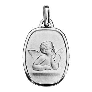 Pendentif en argent rhodié rectangle arrondi avec ange en relief - Vue 1