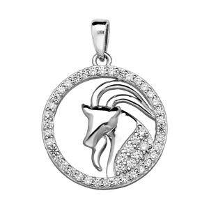 Pendentif en argent rhodié rond avec signe du zodiaque Capricorne et contour d\'oxydes blancs sertis - Vue 1