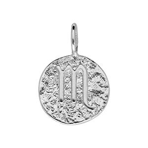 Pendentif en argent rhodié rond martelé avec signe du zodiaque Scorpion - Vue 1