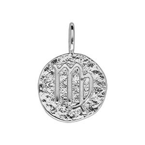 Pendentif en argent rhodié rond martelé avec signe du zodiaque Vierge - Vue 1