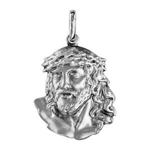 Pendentif en argent rhodié tête de Jésus Christ - Vue 1