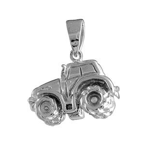 Pendentif en argent rhodié tracteur