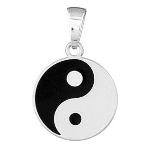 Pendentif en argent rhodié Yin & Yang - Vue 1