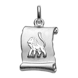 Pendentif en argent rhodié zodiaque parchemin simple Lion - Vue 1