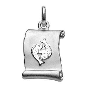 Pendentif en argent rhodié zodiaque parchemin simple Poissons - Vue 1