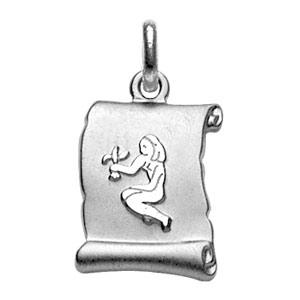 Pendentif en argent rhodié zodiaque parchemin simple Vierge - Vue 1