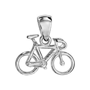 Pendentif en argent vélo de course - Vue 1