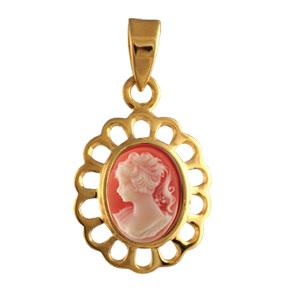 Pendentif en plaqué or camée rose et dentelle autour
