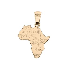 Pendentif en plaqué or carte d\'Afrique petit modèle - Vue 1