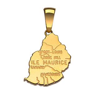 Pendentif en plaqué or carte de l'Ile Maurice