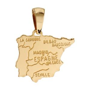 Pendentif en plaqué or carte d\'Espagne - Vue 1