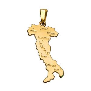 Pendentif en plaqué or carte d\'Italie grand modèle - Vue 1