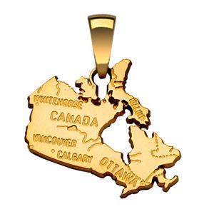 Pendentif en plaqué or carte du Canada - Vue 1