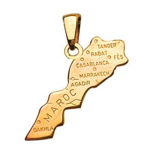 Pendentif en plaqué or carte du Maroc - Vue 1