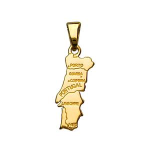 Pendentif en plaqué or carte du Portugal petit modèle - Vue 1