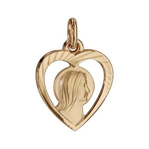 Pendentif en plaqué or coeur avec Vierge - Vue 1