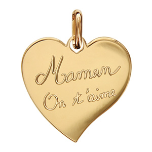 meilleures baskets 9d013 dbe46 Pendentif en plaqué or coeur gravé Maman on t'aime