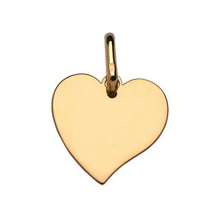 Pendentif en plaqué or coeur à graver petit modèle - plaque fine - Vue 1