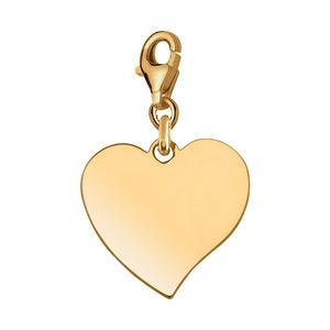 Pendentif en plaqué or coeur à graver sur mousqueton - plaque fine - Vue 1