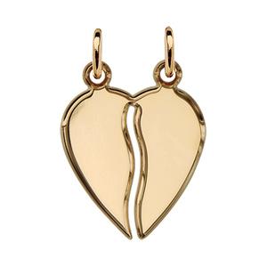 Pendentif en plaqué or coeur à partager en zig-zag - Vue 1