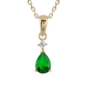 Pendentif en plaqué or collection joaillerie goutte en oxyde verte suspendue à 1 petit oxyde rond blanc