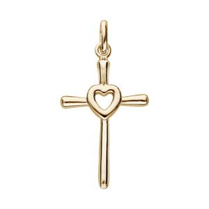 Pendentif en plaqué or Croix avec coeur au centre - Vue 1