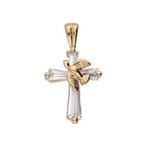Pendentif en plaqué or Croix avec colombe oxydes blancs sertis - Vue 1