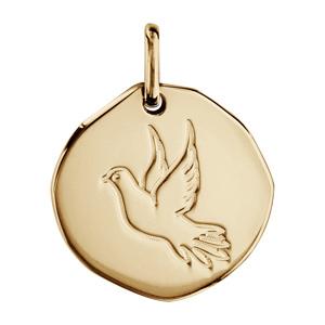 Pendentif en plaqué or galet avec colombe gravée - diamètre 18mm - Vue 1