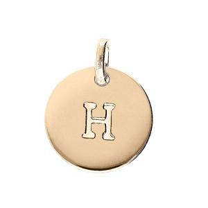 Pendentif en plaqué or médaille 12mm gravure lettre alphabet \