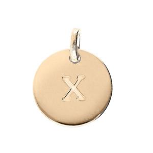 Pendentif en plaqué or médaille 12mm gravurelettre alphabet \