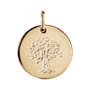 Pendentif en plaqué or médaille avec arbre de vie gravé - diamètre 15mm