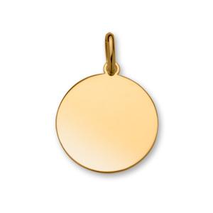 Pendentif en plaqué or médaille à graver grand modèle diamètre 24mm - plaque fine - Vue 1