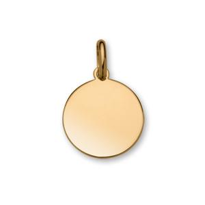 Pendentif en plaqué or médaille à graver moyen modèle diamètre 20mm - plaque fine - Vue 1
