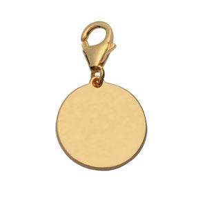 Pendentif en plaqué or médaille à graver sur mousqueton - plaque fine - Vue 1